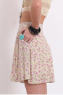 Dark Khaki Floral Printed Skirts
