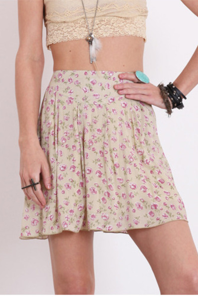 dark khaki floral printed skirt