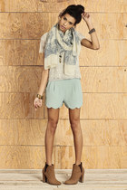 beige scarf - tawny boots - light blue shorts - off white top