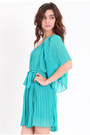 Turquoise Blue One Shoulder Dresses