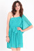 turquoise blue one shoulder dress