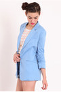 Sky Blue Ruched Blazers