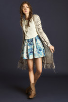 heather gray fringe cardigan - light brown perforated boots