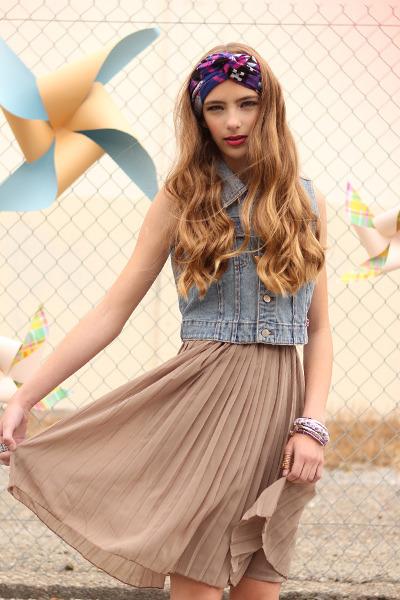 deep purple scarf - sky blue vest - tan skirt - white bracelet - purple bracelet