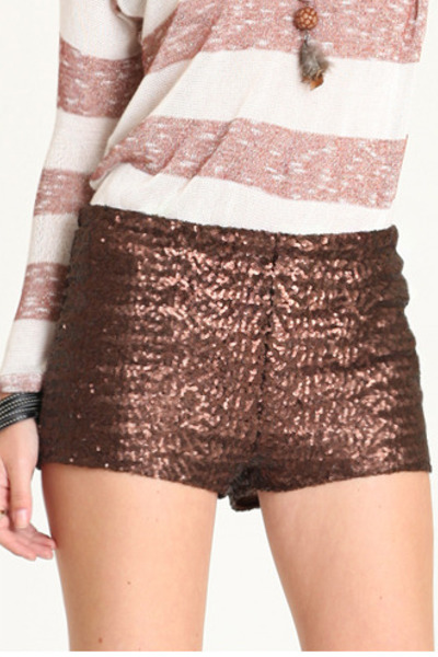 brown sequin shorts