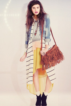 yellow skirt - white dress - light blue derby denim 79 jacket - tawny purse