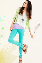 aquamarine skinny jeans - lime green cut out top - chartreuse crochet cardigan