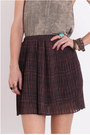 Maroon-pleated-chiffon-skirt