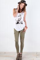 beige Matiko shoes - black hat - white Mink Pink top - green pants