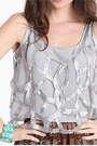 Silver Sequin Tops