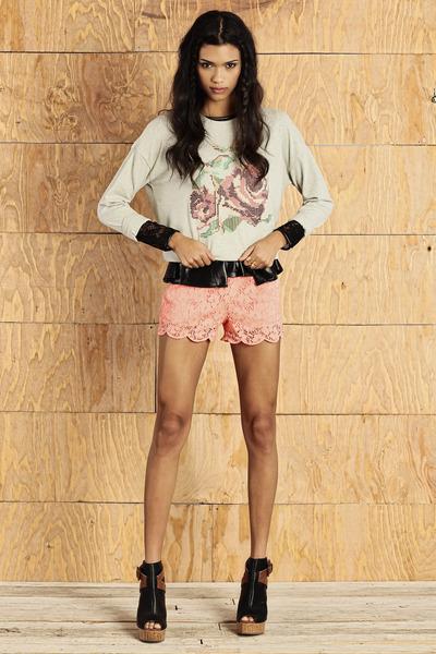 black top - light blue sweater - light pink shorts - black wedges