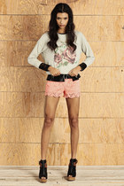 black top - light blue sweater - light pink shorts - black wedges