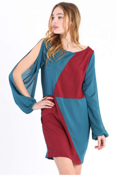 brick red color block dress