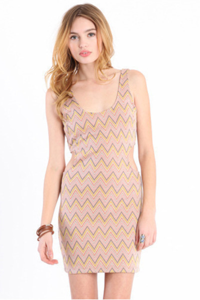 light pink chevron dress