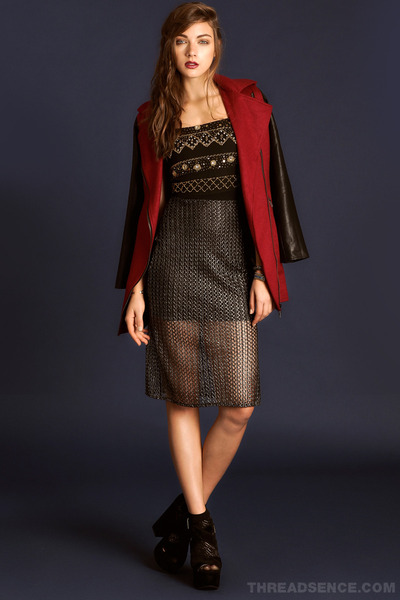 black mesh Motel Rocks dress - ruby red leather sleeve jacket