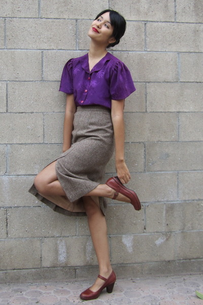 purple vintage blouse - tan vintage skirt