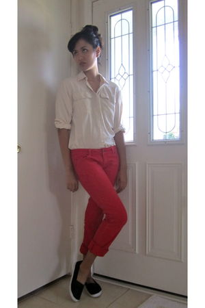 red Forever 21 pants - white vintage blouse - black Rite Aid shoes