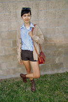 brown shorts - blue vintage blouse - beige vintage cardigan - red Target purse -