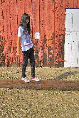 white vintage shirt - black BDG jeans - red Converse shoes