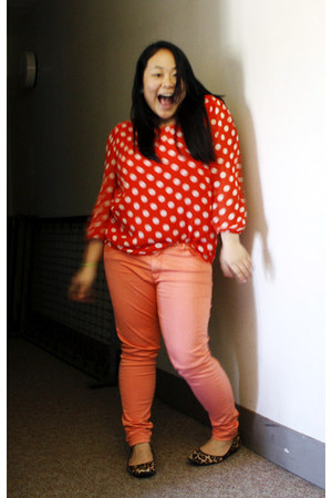 light orange H&M pants - carrot orange polka-dot Forever 21 top
