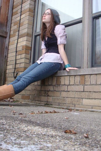 gray Forever 21 hat - purple Converse shirt - blue delias jeans - brown Ugg boot