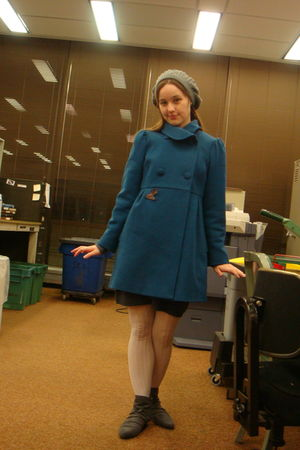 gray Forever 21 hat - blue Old Navy coat - gray Forever 21 boots - gray dress