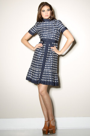 navy checkered shannon rogers for jerry silverman dress