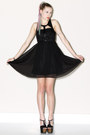 Cut Out Black Silk Dresses