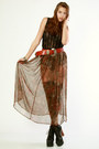 Brown-thriftednet-skirt