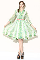 green floral vintage dress
