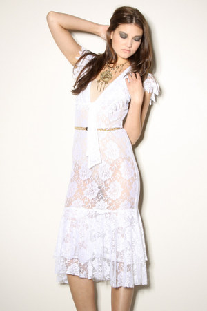 white sheer lace vintage dress