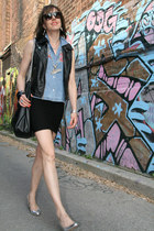 light blue cut off jean Thrift Store shirt - black pleather H&M bag - black leat