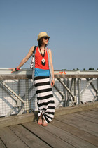 jail bird maxi H&M dress - straw fedora Payless hat - red cropped tank H&M top -