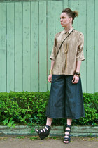 blue culotte winners jeans - gold button up Thrift Store blouse - black ankle Fo