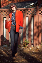 carrot orange cashmere Thrift Store blazer - navy skinny boot Guess jeans