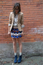 tan wool Thrift Store blazer - blue short booties Forever 21 boots