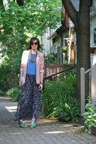 maxi dress Majora dress - light pink boyfriend H&M blazer - aquamarine cone shap