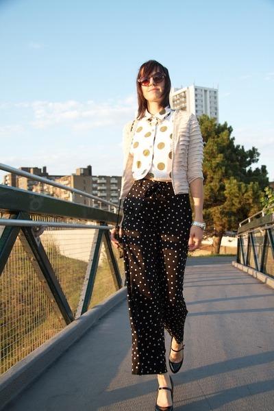 black palazzo H&M pants - neutral jeweled H&M cape
