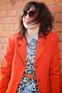 Carrot-orange-cashmere-thrift-store-blazer-beige-animal-print-h-m-sweater
