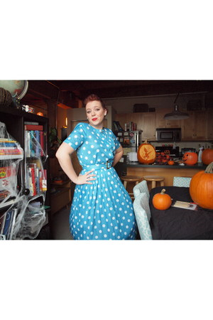 blue polyester thrifted vintage dress