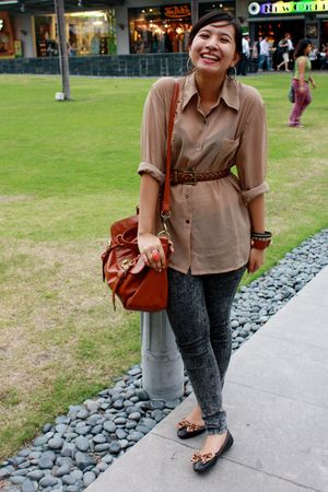 black thrift shoes - gray Topshop jeans - brown thrift shirt