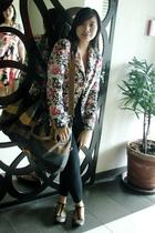 black studded flats Topshop shoes - pink floral vintage blazer