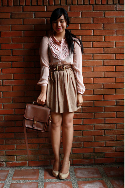 beige Janylin shoes - brown Zara skirt - brown thrift belt