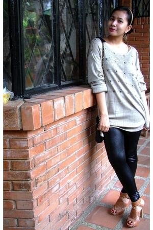 vintage jacket - Blacksheep liquid leggings - boutique shoes - vintage sling acc