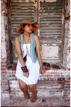 white thrift dress - gold flip-flops havainas shoes - blue thrift vest