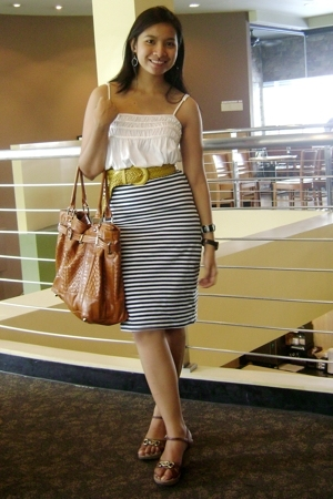 Topshop stripes used as skirt top - Bayo top - Celine wedge shoes - thrifted bag