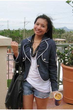 black studded flats Topshop shoes - blue thrift jacket - white MNG shirt