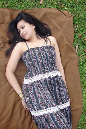 black maxi thrift dress