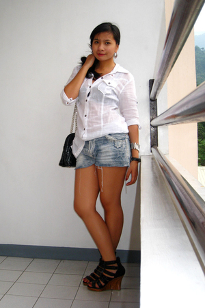 Giordano button-down shirt - denim shorts - People are People shoes - Vintage ba