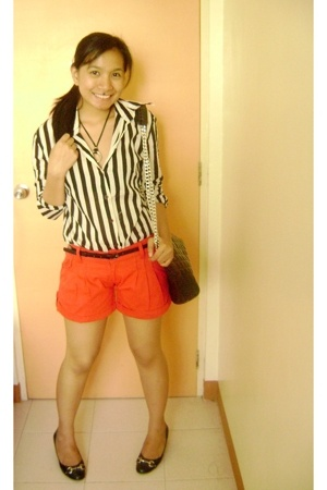 Mango stripes top - Topshot shorts - CMG shoes - vitage bag accessories
